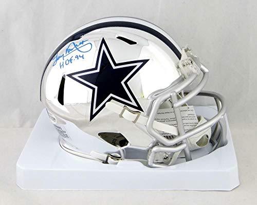 (Tony Dorsett Autographed Signed Dallas Cowboys Chrome Mini Helmet with Hof- Beckett Auth Blue - Certified Signature)