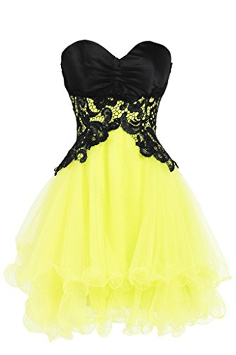 Dress Women' Homecoming Lace Short Yellow Cocktail Fanciest 2017 Dresses Prom Oq6Bxqwa8