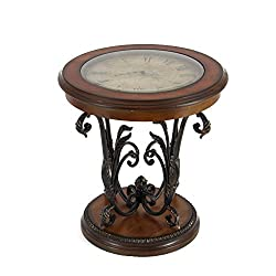 Urban Designs Imported Designer Round Clock Coffee & End Table, Brown
