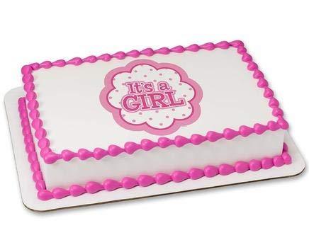 "Baby Girl Baby Shower 7.5/"" Round Cake Topper"