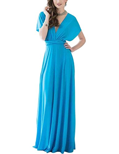 Blue Solid DANALA Sleeveless Water Formal with Party Belt Ankle Evening Length Long Dress ZOp7wZqHax