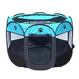HMANE Foldable Pet Playpen Dog Cat Tent Fence Portable Pet Cage Exercise Fence Kennel - (Blue + Black)