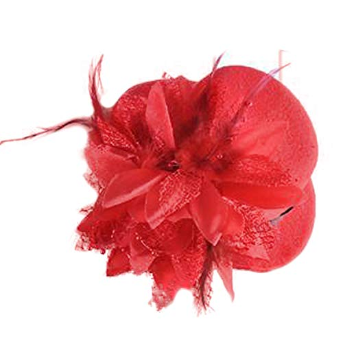 (Song Flower Decor Hair Clip Feather Fascinator Burlesque Mini Top Hat for Women Lady(Red))