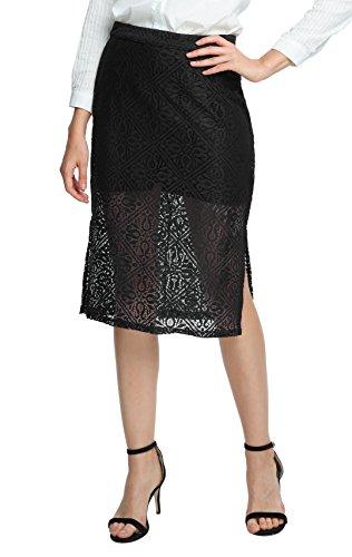 Noir Jupe GoCo lgant Jupe Taille Droite Femme Urban Dentelle Crayon Haute nvxSpd