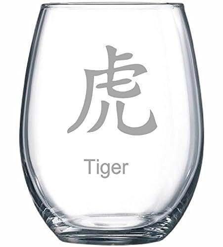 Amazon.com: Chinese Zodiac 15 oz. Stemless Wine Glass
