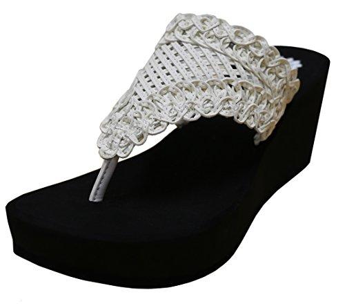 White Shoe Charms - Yellow Box Women's Charm Wedge Sandal, White, 7.5 M US