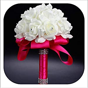 mamamoo Cheapest PE Rose Bridesmaid Wedding Foam Flowers Rose Bridal Bouquet Ribbon Fake Wedding 9 Color S30,Rose Red 83