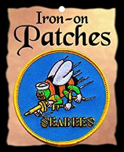 "The Seabees PATCH, Superior Quality Iron-On / Saw-On Embroidered Patch - Each one is individually carded and sealed in a professional retail package - 3"" x 3"" Inches - Made in the USA from ""Flag-It"" Brand - The Finest Embroidered Patches"