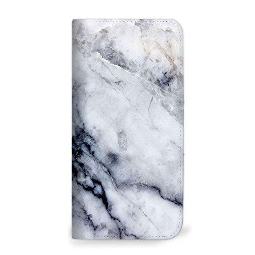 mitas iPhone8Plus ケース 手帳型 ベルトなし 大理石 マーブル ストーン 石 ホワイト (250) NB-0297-WH/iPhone8Plus