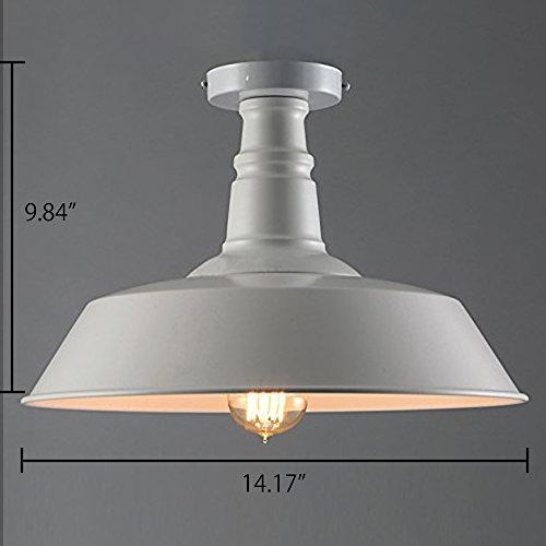 Industrial Simple Mini Ceiling Light – LITFAD 14 Vintage Antique Chandelier Pendant Lamp Edison Semi Flush Mounted Pendant Light White