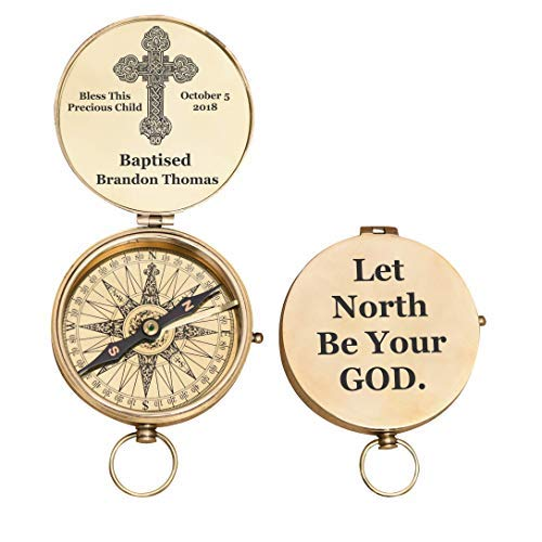 Confirmations Birthdays Great for Baptisms Graduations Missionary Stanley London Brass Pocket Compass Engraved Joshua 1:9
