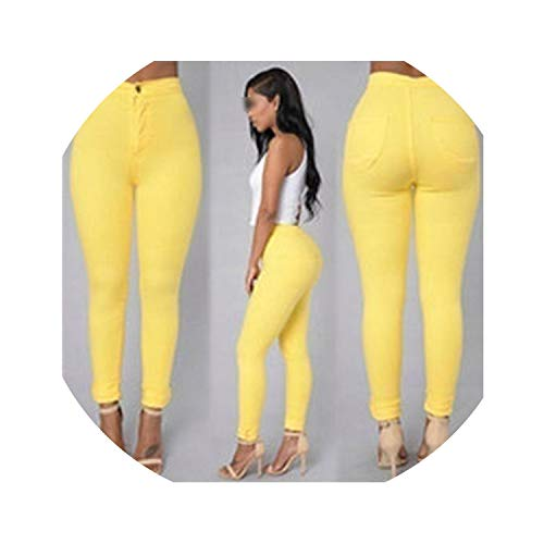 - Wash Skinny Jeans Woman High Waist Denim Winter Pants Plus Size Push Up Pencil Pants Female -N,Yellow,XL
