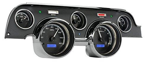 Dakota Digital VHX-67F-MUS-K-B Compatible with 1967-68 Ford Mustang Analog Dash Gauge Black Alloy Blue Backlighting