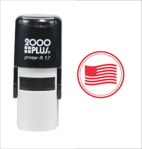 American USA Flag 2000 Plus Self Inking Rubber Teacher Stamp - Red Ink - Flag Stamp