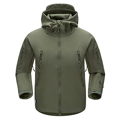 (WELCOMEUNI Men Waterproof Assault Coat Winter Soft Jackets Breathable Clothes Snowboarding Jackets Army Green)