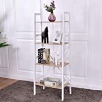 Costway 4-Tier Ladder Wall Stand Display Bookshelf Deals