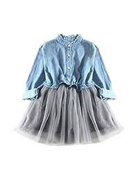 OCEAN-STORE Denim Dress Girls Toddler Baby Long Sleeve Princess Tutu Dress Cowboy Clothes