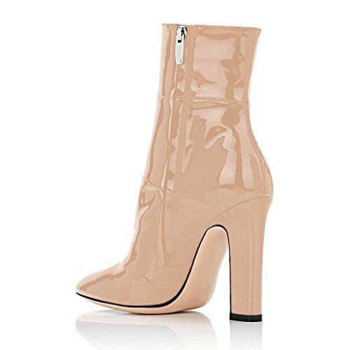 Fsj Kvinder Retro Chunky Højhælede Ankelstøvler Spidse Tå Støvletter Med Lynlås I Siden Størrelse 4-15 Os Beige QvygJv0H