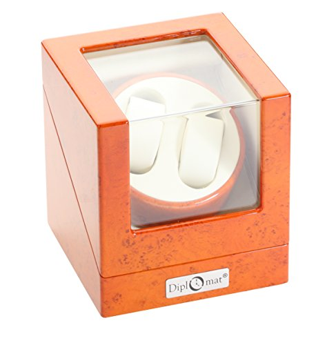 Diplomat Burl Wood Double Watch Winder with Off-White Leather Interior -