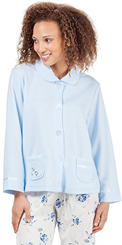 KayAnna Peter Pan Collar Lightweight Waffle Poly Bed Jacket - Blue (Large (14-16), Blue)