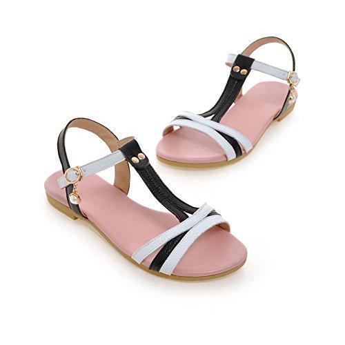 Beaded In Slc03671 Adeesu Assortiti Square Microfibra Heels Womens Sandali Colore Nero 5fzq0SAf