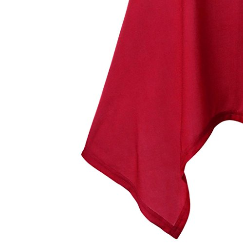Rouge Irrégulier Chemise Adeshop Lâche Section Slim Manches Col Vêtements Été Sans Mode Gilet Impression Gilet Musical Femmes Débardeur Longue Note Chemisier Élasticité Rond qpBwq6Y