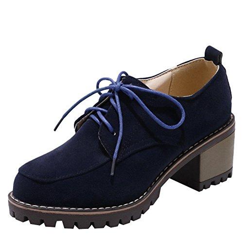 Latasa Dames Veterschoenen Met Hak Oxford Schoenen Donkerblauw