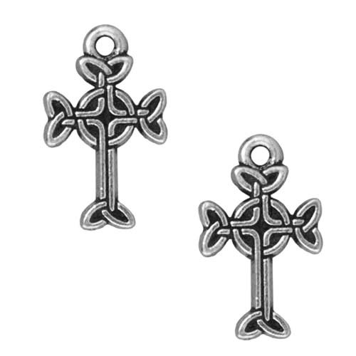 Charms Cross Pewter (TierraCast Fine Silver Plated Pewter Celtic Cross Pendant 18mm (2))