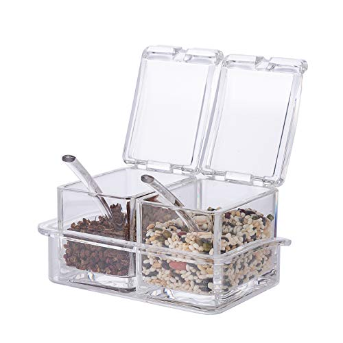 Xena 2 Piece Clear Spice Rack Spice Pot Acrylic Seasoning Box Storage Container Condiment Jar, 5.5 x 4 Inch Cruet Cover Spoon Salt Pepper Organizer Sauces Dressing Holder