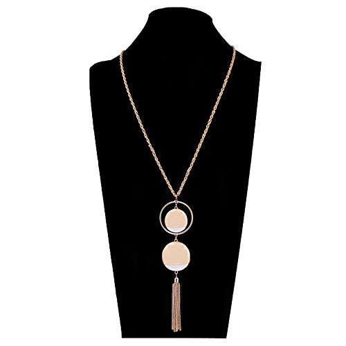 - ALEXY Women's Double Disc Pendant Necklace with Hoop Surrounded Y Lariat Long Twist Chain Tassel Necklace (Gold)