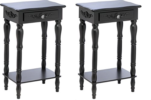 GHP Set of 2 MDF Wood High-Fashion Colonial Carved Side Table