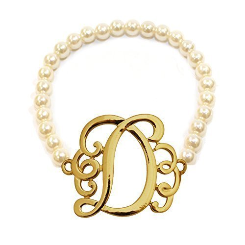 [D] Handmade Gift Initial Monogram with Pearl Stretch Bracelet - Pearl Initial Bracelet