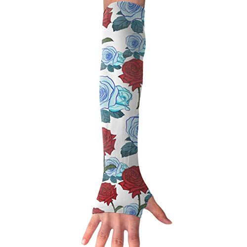 WAY.MAY Rose Pattern Sun Protection Sleeve Long Arm Fingerless Gloves Outdoor Sleeve