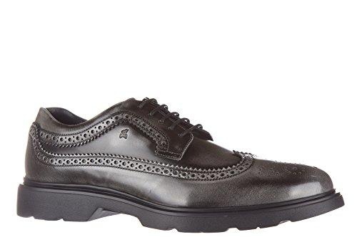 Hogan chaussures à lacets classiques homme en cuir h304 route derby bucature gri