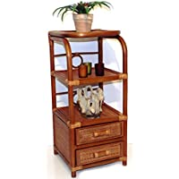 Handmade Bookcase Designer ECO Rattan Wicker with 2 Drawers, Cognac
