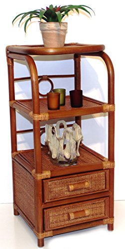 - SunBear Furniture Handmade Bookcase Designer ECO Rattan Wicker with 2 Drawers, Cognac