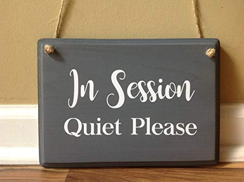 (In Session Quiet Please Wooden Door Hanger painted custom hanging door sign office in session sign front door sign Therapy Massage Counseling Spa)