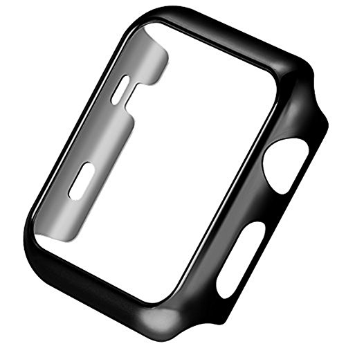 For Apple Watch Case Series 3 Super Thin PC Plated Protective Bumper iWatch Case Cover 38mm 42mm (42mm, Black)