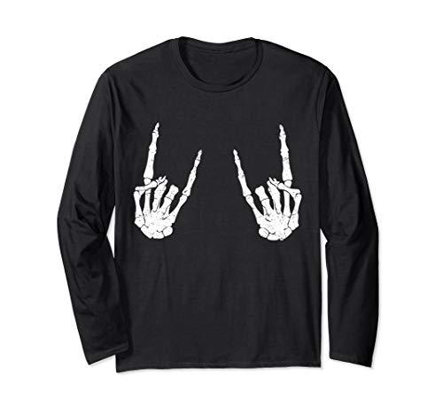 Trendy Halloween Shirt Skeleton Rocker Graphic Costume  Long Sleeve T-Shirt