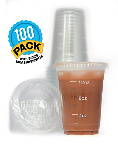 Clear Plastic 16 oz. Drinking Cups with Lids (100-Count Set) and White Measuring Portion Control Lines | Diet Tea, Frozen Smoothies, Iced Coffee, Bubble Boba