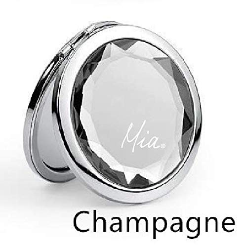 Mia 2x/1x Jeweled Compact Vanity Mirror, Beautiful, Pretty, Shiny Silver Metal With Large Mirrored Rhinestone Attached, For Women, Girls, Gifts, Travel 1pc (champagne) ()