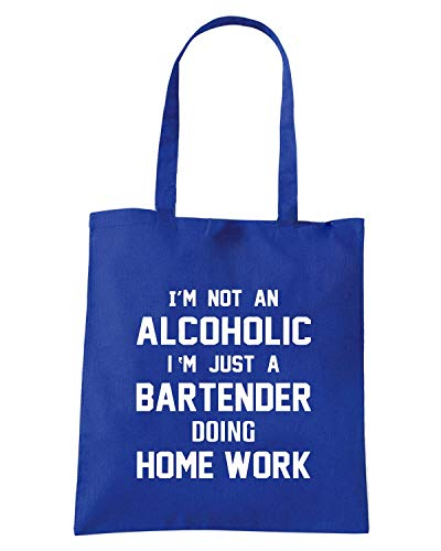 Borsa Shopper Royal Blu BEER0243 I M NOT AN ALCOHOLIC I M JUST A BARTENDER DOING HOME WORK
