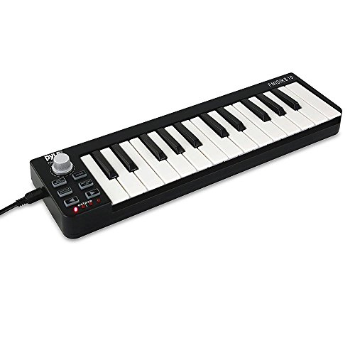 Pyle USB MIDI Keyboard Controller – Upgraded 25 Key Portable Audio Recording Workstation Equipment – Hardware Buttons Control any DAW Software for Computer Music Production – PMIDIKB10_0
