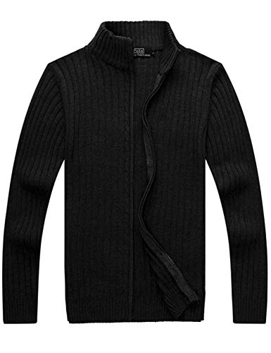 Yeokou Men's Casual Autumn Stand Collar Full Zip Up Knitted Cardigan Sweater (X-Small, Black) (Cotton Autumn Cashmere Cardigan)