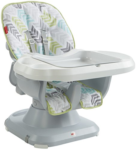 Fisher-Price SpaceSaver High Chair, Green/Blue/Grey - Green Booster Chair