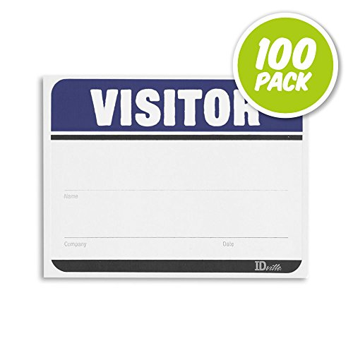 Visitor Name Badge Stickers - Adhesive Name Tags Fill in The Blank Visitor Labels - Blue - 100 Pack