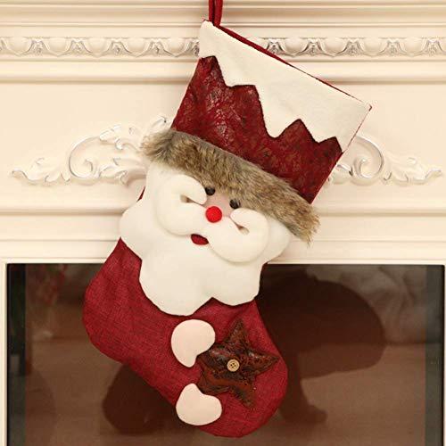 (Large Size Christmas Stockings Plush 3D Xmas Decorations Gift Holding Home Decors Tree Ornament 18'' (Santa))