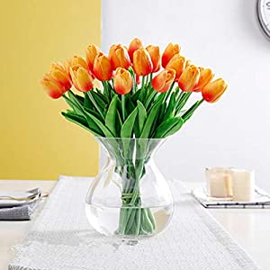 SHINE-CO LIGHTING PU Real Touch Tulips Artificial Flowers 10 Pcs Flowers Arrangement Bouquet for Home Office Wedding Decoration (Orange) 4