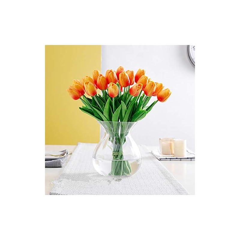silk flower arrangements pu real touch tulips artificial flowers 10 pcs flowers arrangement bouquet for home office wedding decoration (orange)