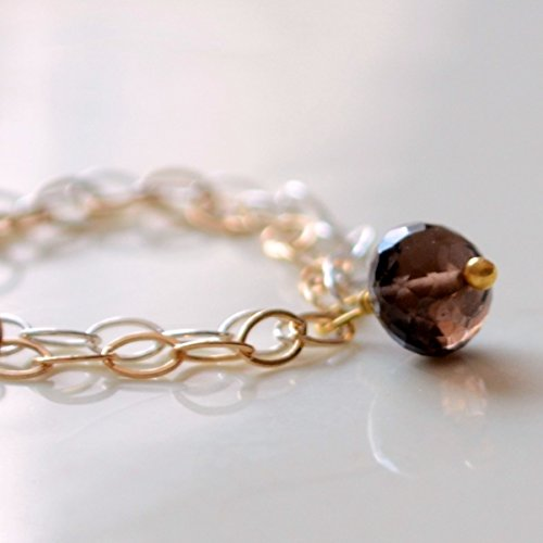 Smoky Quartz Ring with Silver and Gold Chain ()
